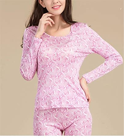 fb688e2752 Dapengzhu 100% Pure Silk Women s Long Sets Ladies Warm Clothing Femme  Thermal Underwear Set Suits