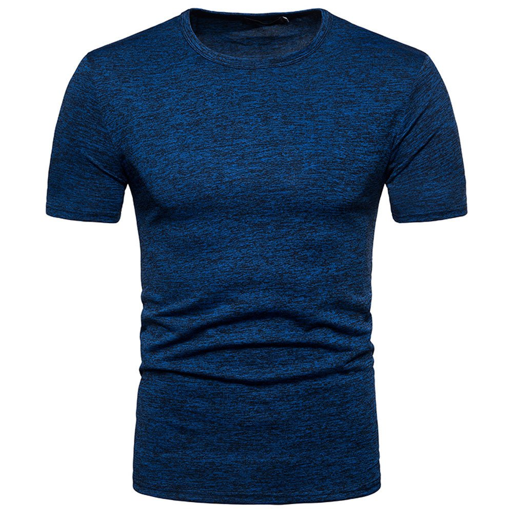 WUAI Mens Casual Shirts Short Sleeve Big & Tall Solid Color Classic Slim Pullover Graphic T-Shirt(Blue,US Size M = Tag L)