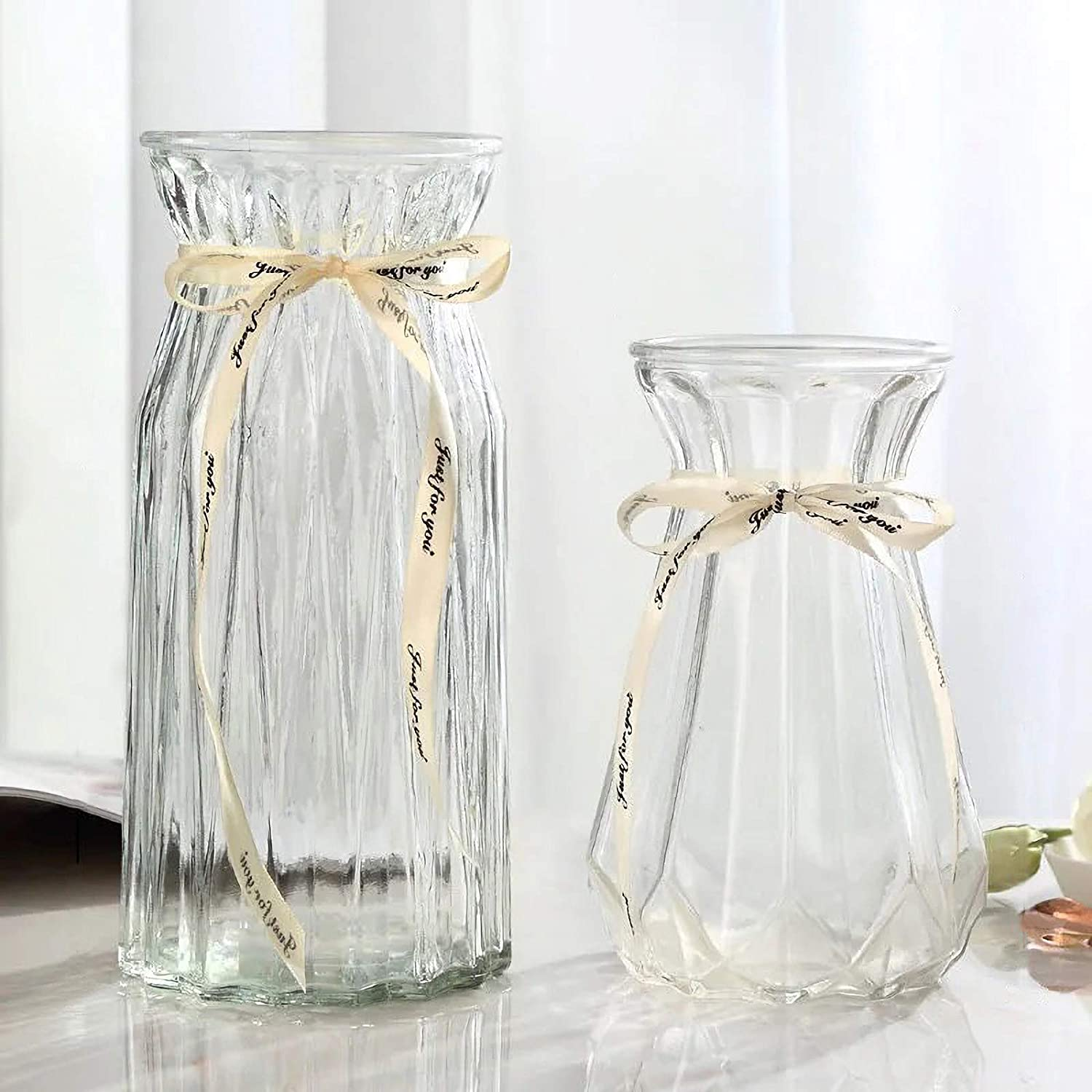 XILEI Glass Vases for Flowers,Clear Bud Vase Set of 2 ,Flower Vase Decorative for Home Decor, Desk Placement and Gift (C2)