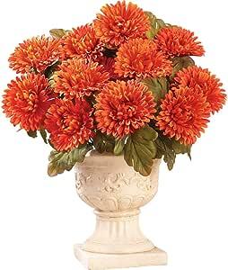 Collections Etc Floral Mums Artificial Maintenance-Free Flower Bush - Set of 3, Orange