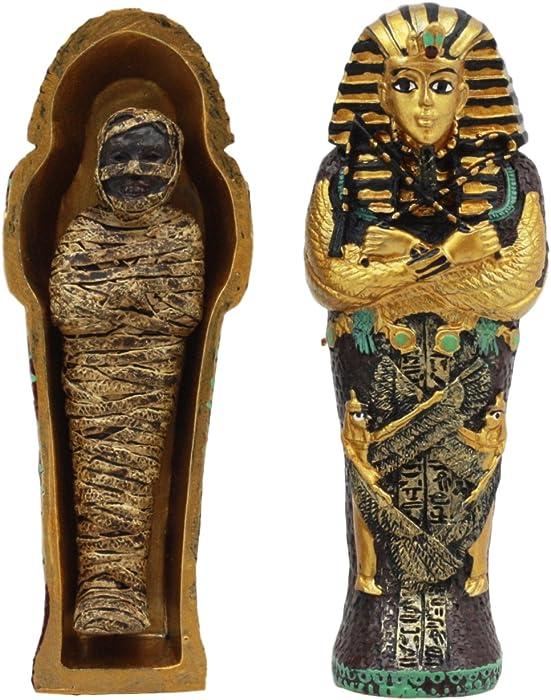Gifts & Decor Ebros Egyptian King Tutankhamun Pharaoh Sarcophagus Coffin with Mummy Figurine Set 4