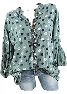 Titanos Blouse for Women,Long Sleeve Dot Button Blouse