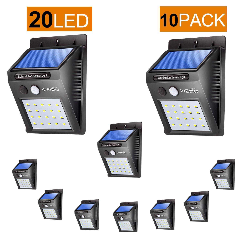 Outdoor Solar Lights,LivEditor 20 LED Solar Motion Sensor Light -10 Pack by Liveditor Lighting