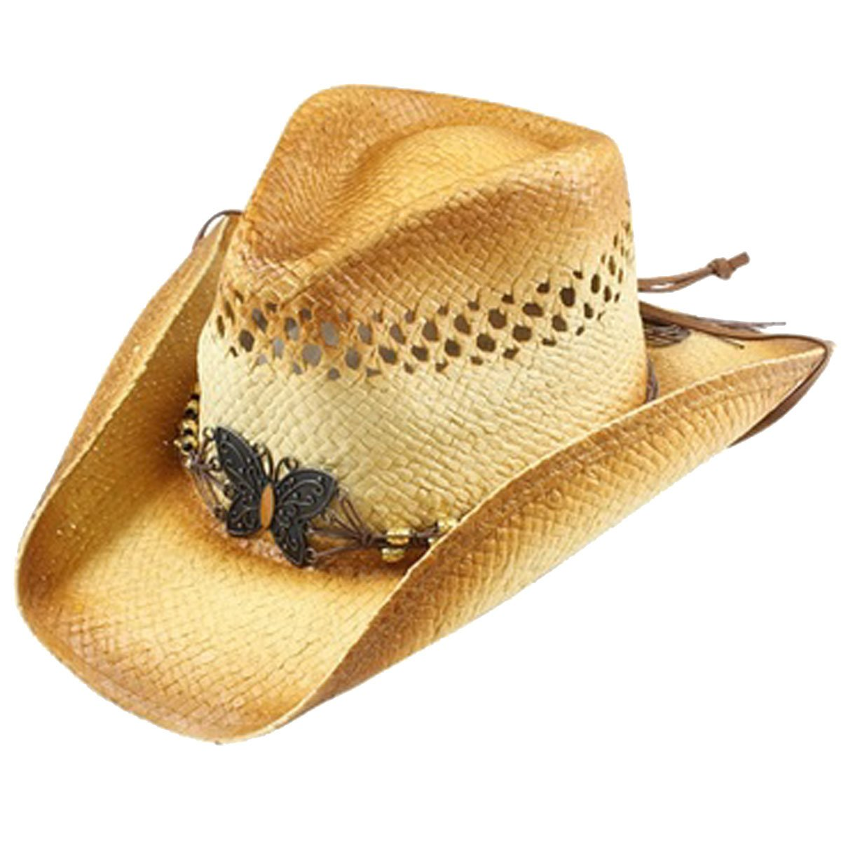 Beaded Butterfly Cowboy Hat - Natural (Natural)