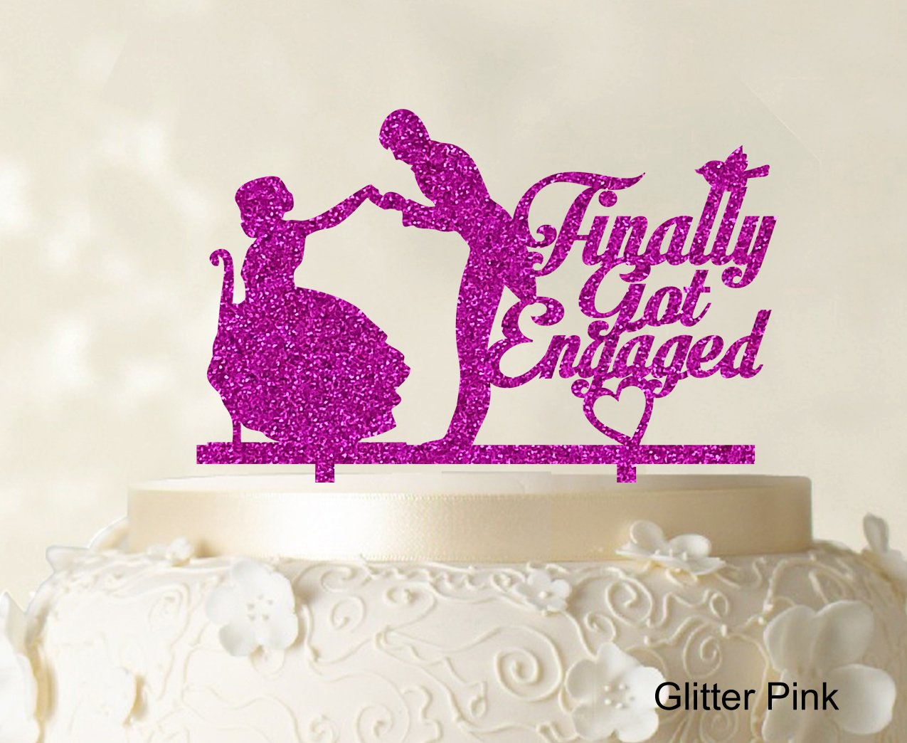 Finally Got Engaged Couple Cake Topper Wedding Cake Topper Color ...