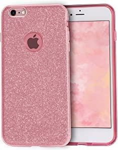MATEPROX iPhone 6s Plus Case iPhone 6 Plus Case Glitter Slim Crystal Bling 3 Layer Hybrid Protective Case for iPhone 6s/6 Plus 5.5'' (Rose Gold)