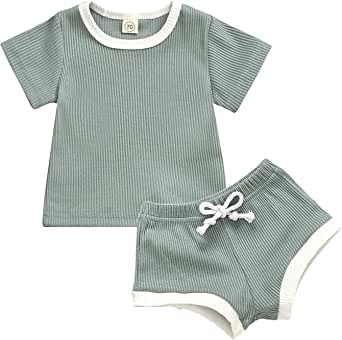 Baby Boy Girl Outfit Kids Boy Knitted Short Sleeve Top with Shorts 2 Pieces Clothes Set
