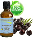 """Botanical Beauty ACAI BERRY OIL 100% Pure / Natural / Cold Pressed. For Face, Body And Hair. (10ml / 0.33 Fl.oz.) From Amazon Rainforest. """"Number One Superfood For The Skin And Hair."""""""