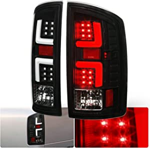 Ajp Distributors LED Tail Lights Lamps For 2002 2003 2004 2005 2006 02 03 04 05 06 Dodge Ram 1500 2500 3500 Upgrade Replacement Assembly Unit (Black Housing Clear Lens White Tube)