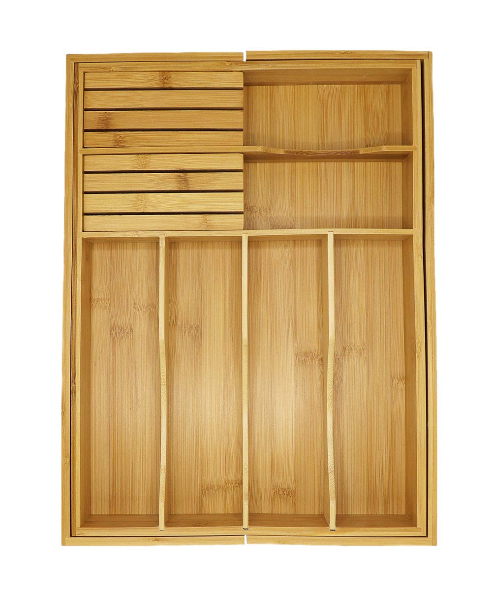 Adjustable Expandable Kitchen Utensil Drawer Organizer and Storage Tray by Bamboo Cottage 100% Bamboo Ergonomic silverware dividers, removable cutlery knife blocks, non slip for kitchen and office. by Bamboo Cottage (Image #2)