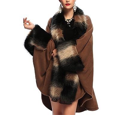 05f5d4911897c KAXIDY Abrigos de Invierno Mujer Chaqueta Abrigo Moda Piel de Imitación  Ponchos Capas (Caqui)