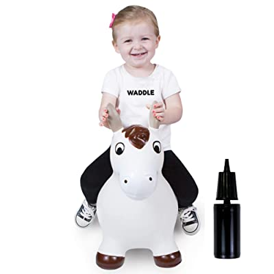 WADDLE Bouncy Horse Hopper for Toddlers Brown White Inflatable Jumping Horse Unisex Ride on Rubber Bouncing Animal Toys for Kids/ Toddlers/ Children/ Boys/ Girls | Hopping Pony Bouncer: Toys & Games