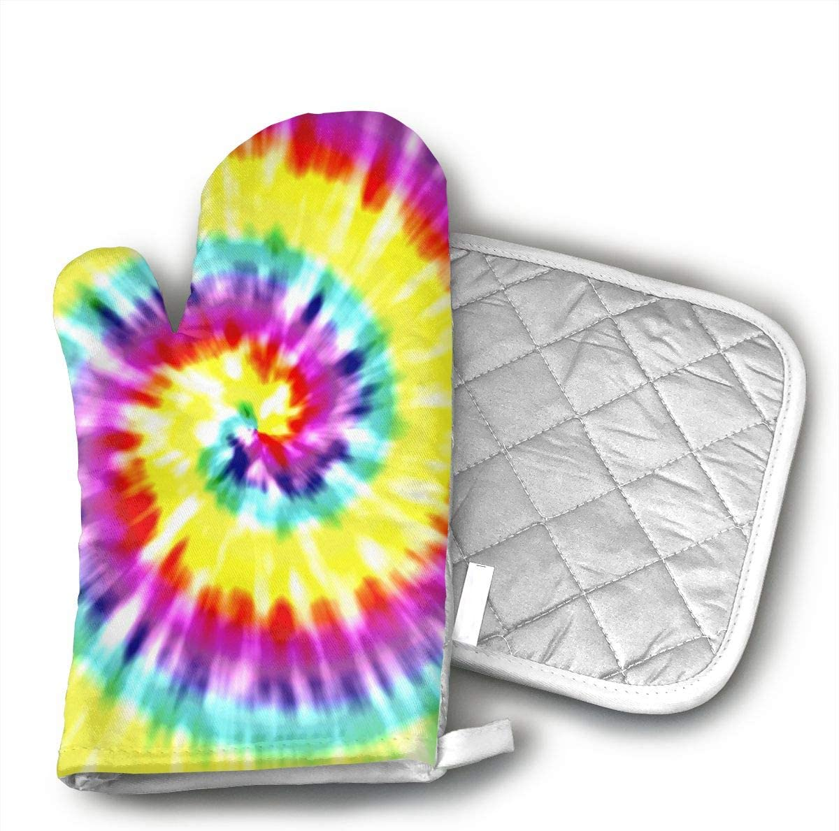 TMVFPYR Unique Tye Dye Art Oven Mitts, Non-Slip Silicone Oven Mitts, Extra Long Kitchen Mitts, Heat Resistant to 500Fahrenheit Degrees Kitchen Oven Gloves