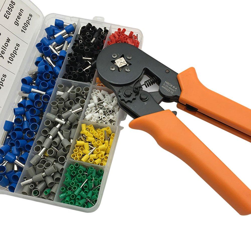 Alexsix 800 pezzi Crimp Terminals 1 pezzo filo pinza crimpatrice utensili morsetto Crimper, Crimper