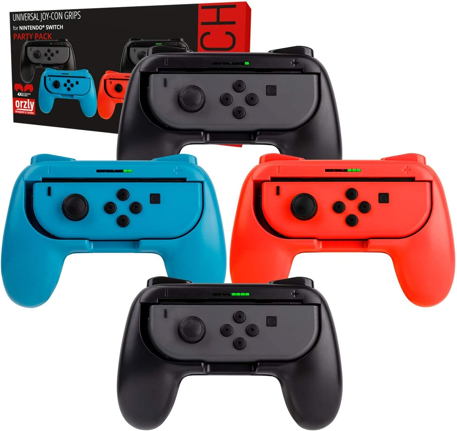 Orzly Switch Mandos Grip Joy-con (Party Pack de 4 Mandos Compatibles con Super Smash Bros Ultimate para Nintendo Switch) 4 Mandos Grip para Juegos Multijugador (1x Rojo, 1xAzul, 2X Negros): Amazon.es: Electrónica