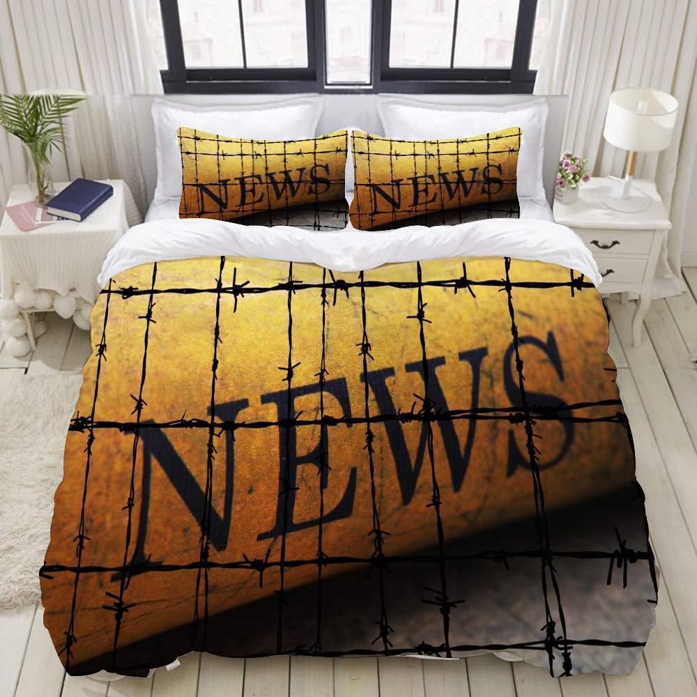 FAKAINU Duvet Cover Set, Forbidden News, Decorative 3 Piece Bedding Set with 2 Pillow Shams