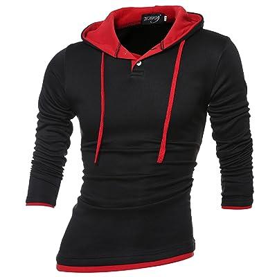 Allonly Mens Fashion Color Block Big Hood Long Sleeve Pullover Hoodie Sweater Sport Sweatshirt