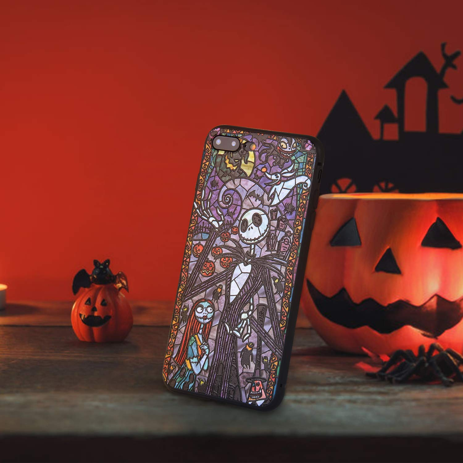 Bangcool iPhone 7 Plus/8 Plus Case Anti Scratch Halloween Ghost Pattern Slim TPU Case