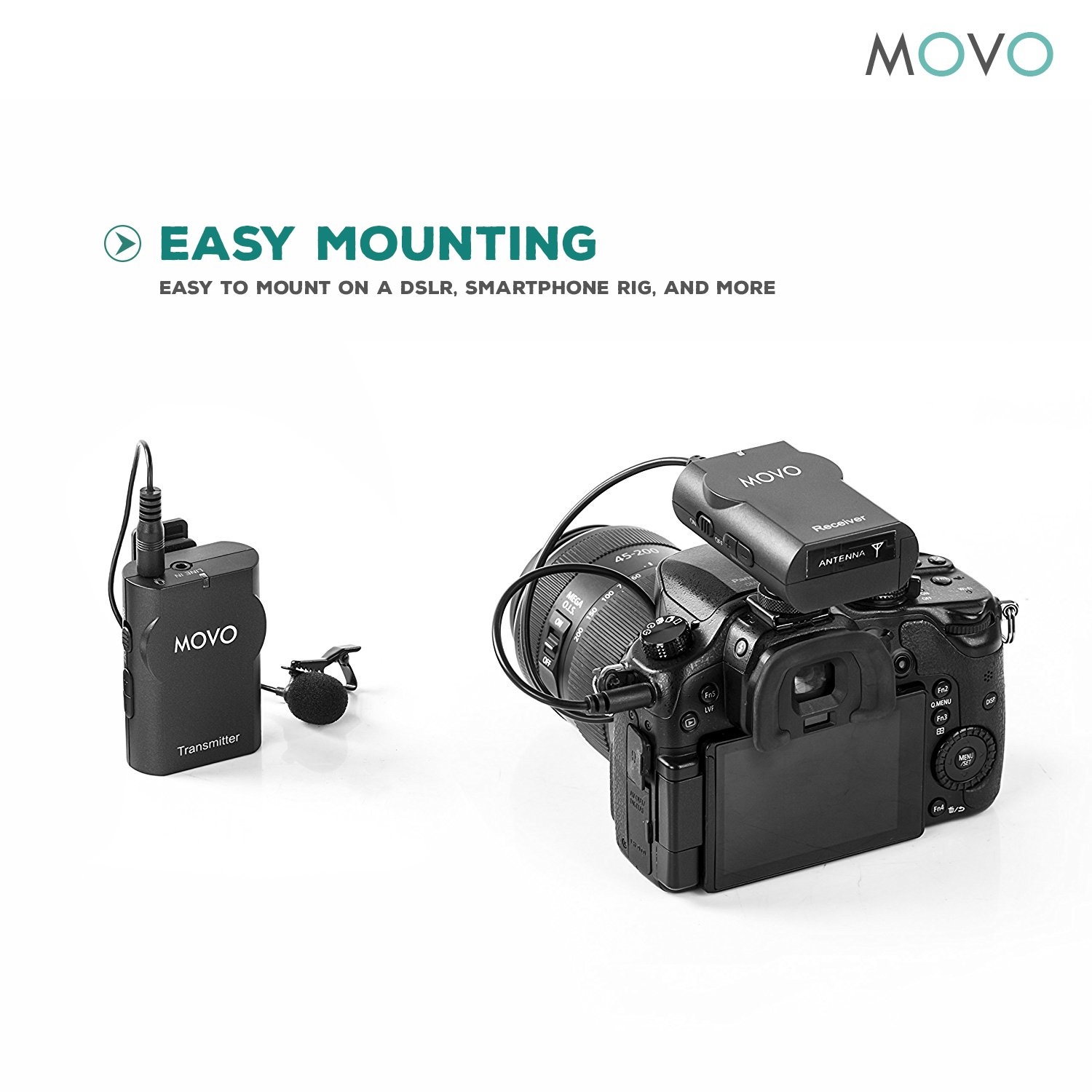 Movo WMIC10 2.4GHz Wireless Lavalier Microphone System for DSLR Cameras, iPhone/iPad/Android Smartphones, Camcorders (50-foot Transmission Range) by Movo (Image #4)
