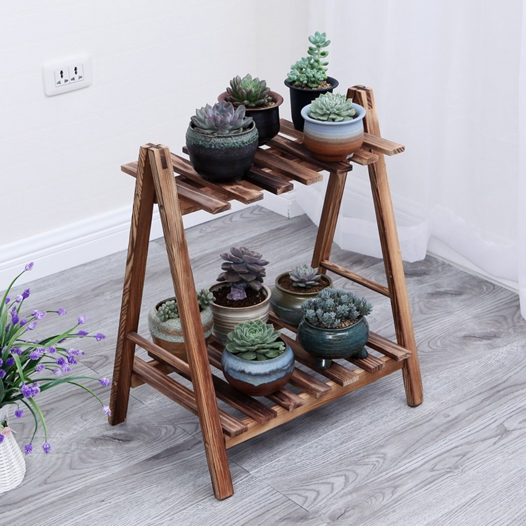 CSQ Pine Flower Stand, Indoor Outdoor Multilayer Plant Stand Shelf Bedroom Living Room Balcony Study 3 Sizes 2 Colors Flower Shelf