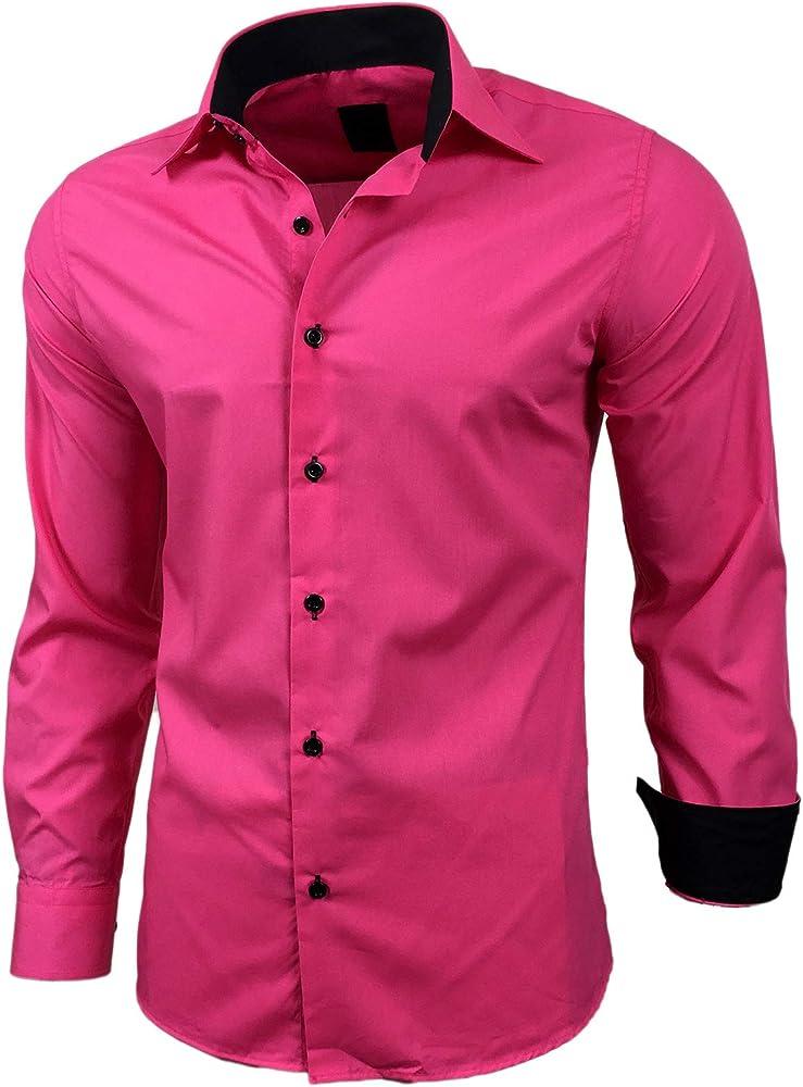 Baxboy - Camisa de manga larga para hombre, de corte ajustado, fácil de planchar, para trajes, trabajo, bodas, tiempo libre, R-44 rosa XXXXL: Amazon.es: Ropa y accesorios