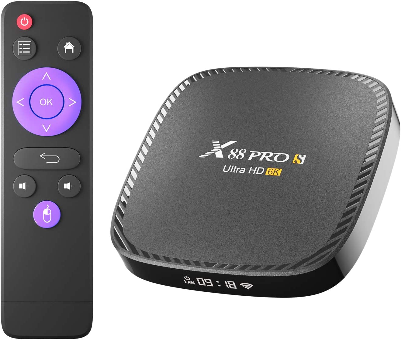 X88 Pro S Android TV Box, Android Box 10.0 RAM 4GB ROM 64GB H616 Quad-Core Support 6K 2.4G/5.8G Dual WiFi Ethernet HD BT 5.0