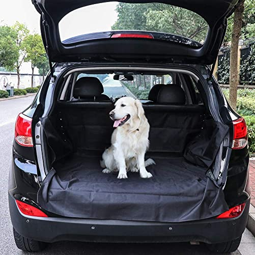 TIROL Waterproof Oxford Pet Mats Cargo Liners for Car Trunk with Velcros Nonslip and Metal Buttons Zippers Convenient Organizer for SUV, Vans Trucks
