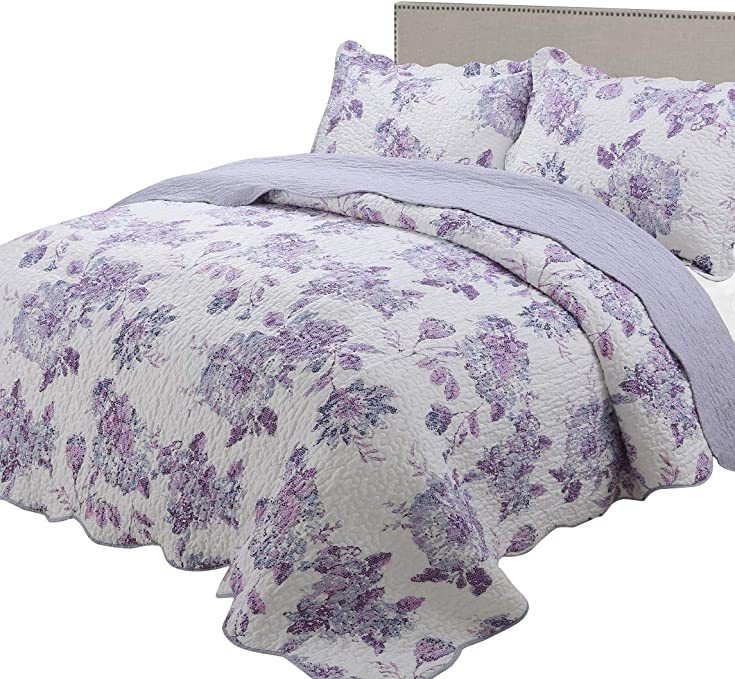 3Pcs Quilted Comfy Bedspread Throw Set Comforter 2 Pillow Shams Double King Size