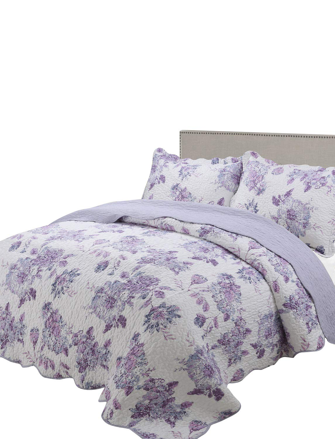 vivinna home textile Printing Quilt Queen Size Sets -3pcs Include 2 Pillow Shams Patchwork Bedspread Blanket (Queen:90'' 90'', Dark Violet)