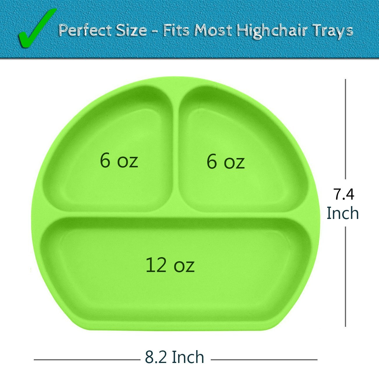 SiliKong Silicone Suction Plate for Toddlers, Fits Most Highchair Trays, BPA Free, Divided Baby Feeding Bowls Dishes for Kids (Green) by SiliKong (Image #5)