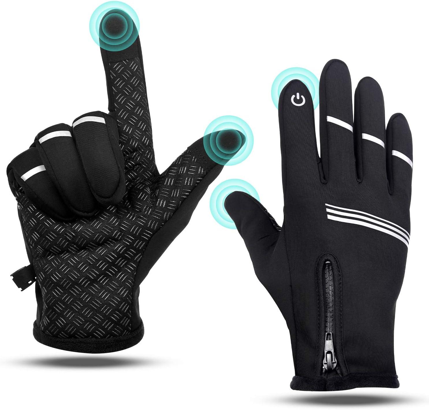 GetFIT Hiver Gants Étanche Écran Tactile Coupe-Vent Cuir Grip Réflecteur