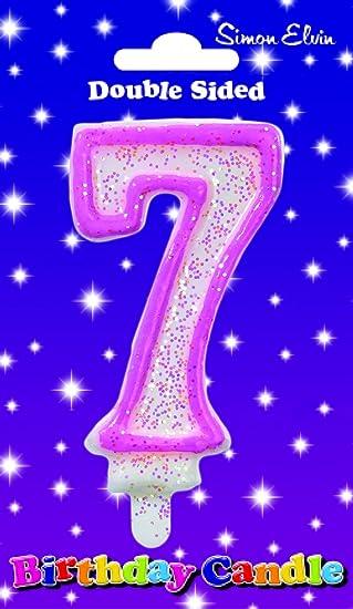 Simon Elvin - cumpleaños Vela Número 7 Rosa: Amazon.es ...