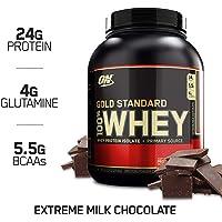 Optimum Nutrition Gold Standard Whey Protein Pulver (mit Glutamin und Aminosäuren. Eiweisspulver von ON) Extreme Milk Chocolate, 71 Portionen, 2,27kg
