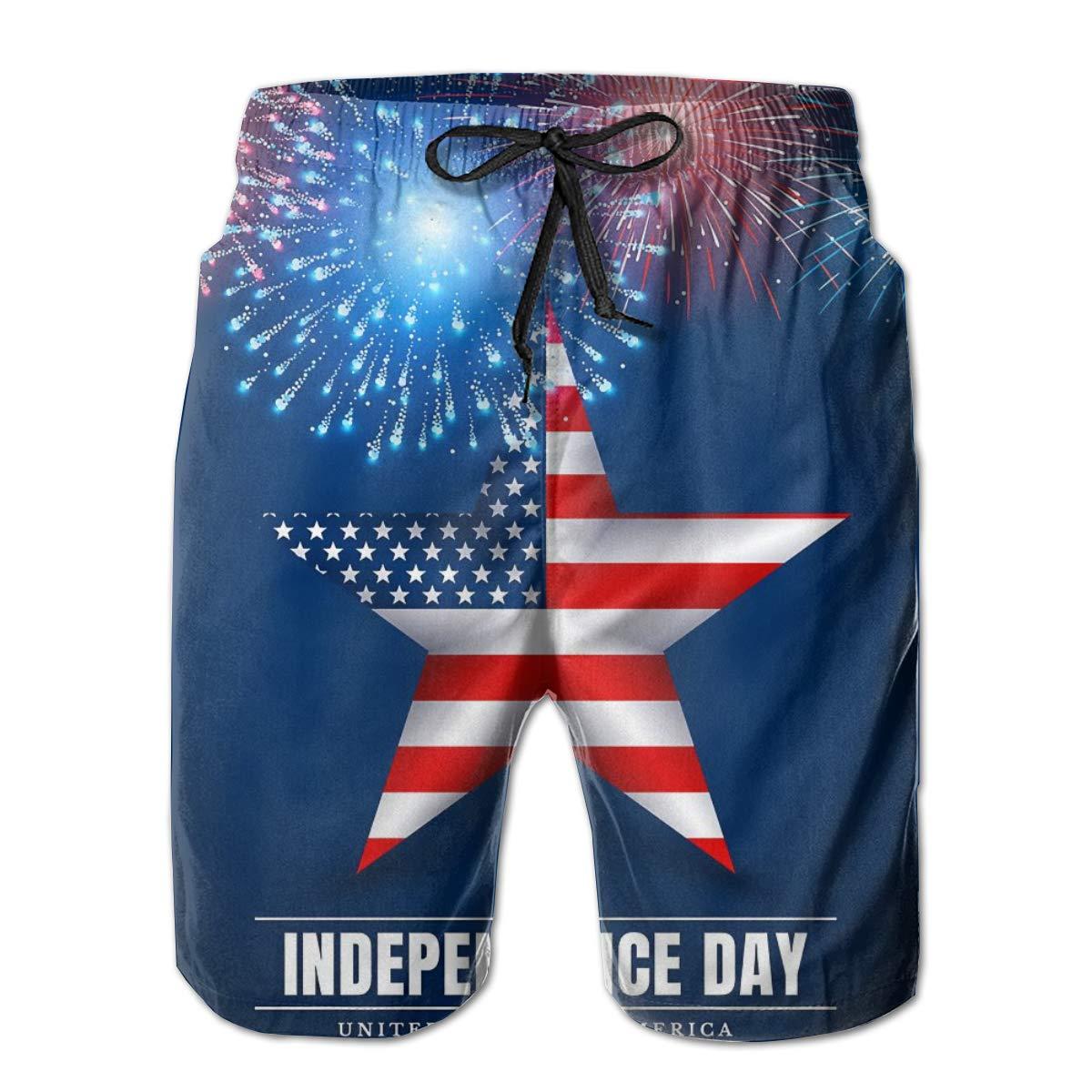SARA NELL Mens Swim Trunks 4 Th July USA Star Independence Day Fireworks Surfing Beach Board Shorts Swimwear