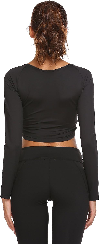 Swiftt Damen Sportshirt Langarmshirt Funktionsshirt Yoga Trainingsshirt Freizeit Langarmhemd Laufshirt Fitness