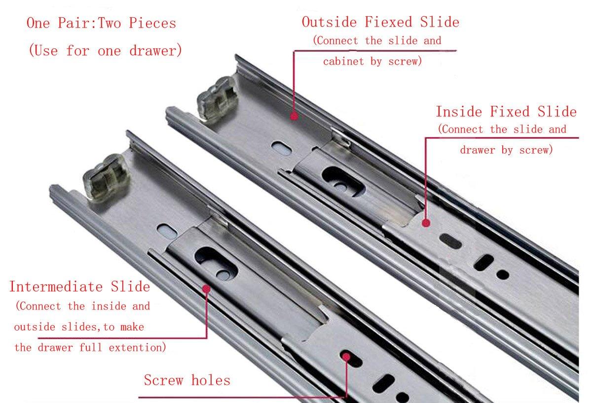 1 par de gu/ías para cajones de acero telesc/ópico con rodamiento de bolas de alta resistencia con cierre suave totalmente extensibles