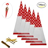 Candy Bags,MEZOOM 100 Pcs Cellophane Cone Treat Party Bags with Gold Twist Ties for Christmas Wedding Cookie Gift Candy Buffet Supply (Red)