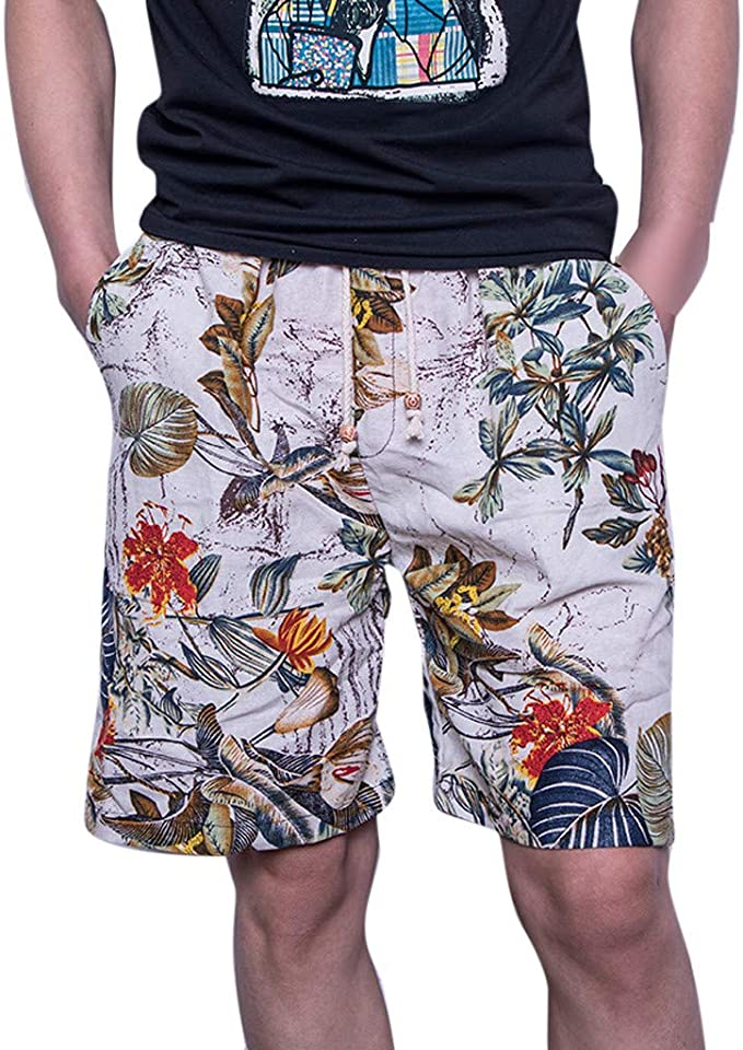 ANJUNIE Mens FBA Casual Color Collision Patchwork Pants Beach Loose Quick Drying Shorts