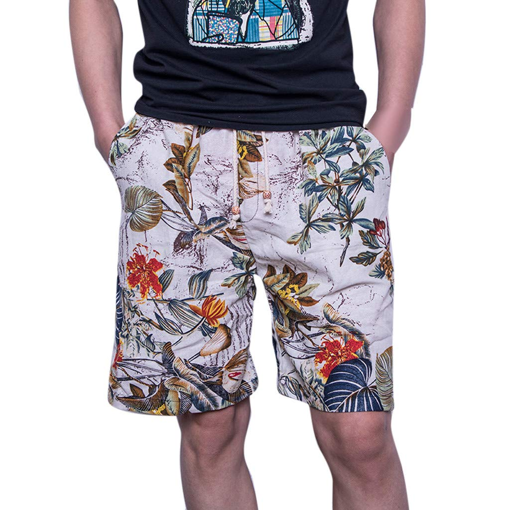aiNMkm Stretch Pants Men Outdoor,Men's New Summer Fashion Casual Color Collision Loose Beach Sport Shorts Pant,Multicolor,2XL
