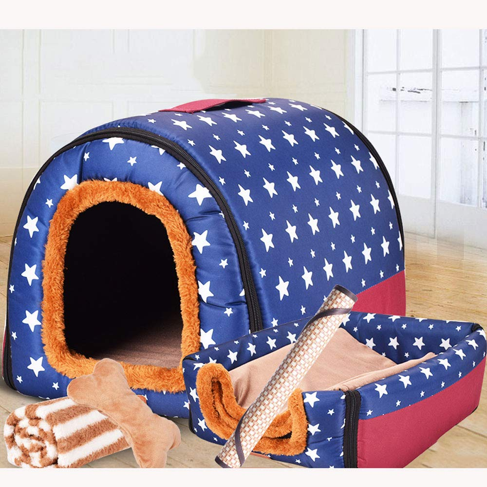 bluee Star Three-piece Set Medium bluee Star Three-piece Set Medium CHONGWU golden Retriever Medium Dog Four Seasons Dog Kennel Indoor Dog House Large Dog Kennel Winter Warm Detachable Pet Worm