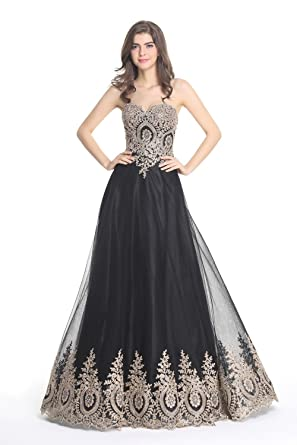LiCheng Bridal Womens Sweetheart Rhinestone Lace Long Elegant Evening Dresses Black US2