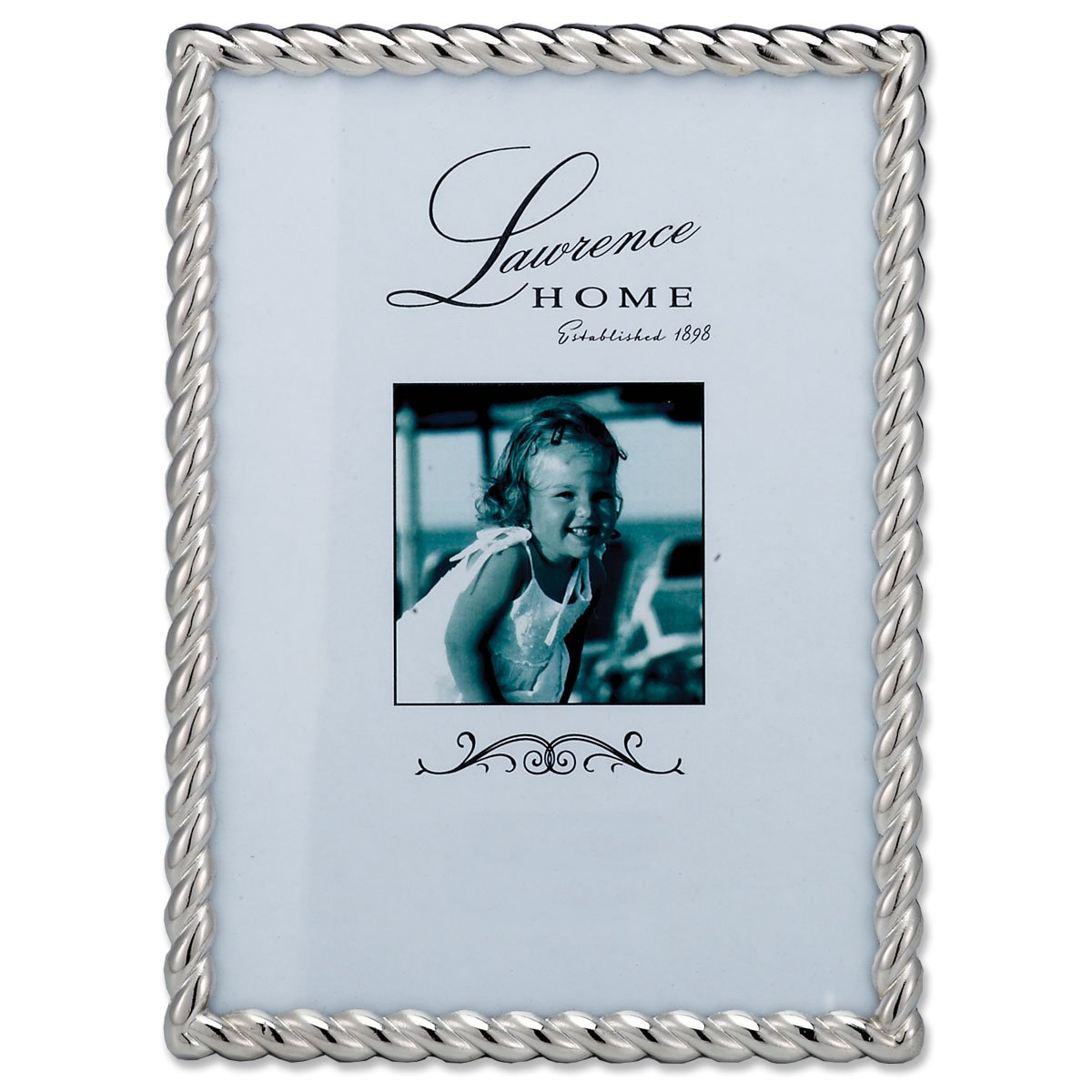 Lawrence frames 710057 silver metal rope picture frame 5 by 7 inch description size5 x 7 jeuxipadfo Image collections