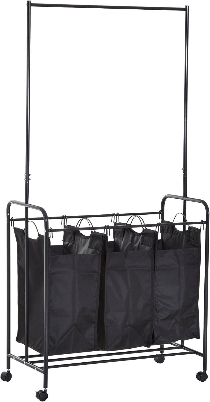 HOMCOM 3 Bag Heavy Duty Divided Laundry Hamper Sorter Cart with Wheels and Hanging Bar - Black