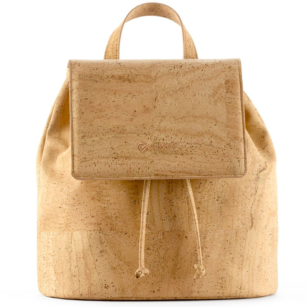 Corkor Cork Backpack - Vegan Handbag For Women Top Flap Back Pack Travel School Natural