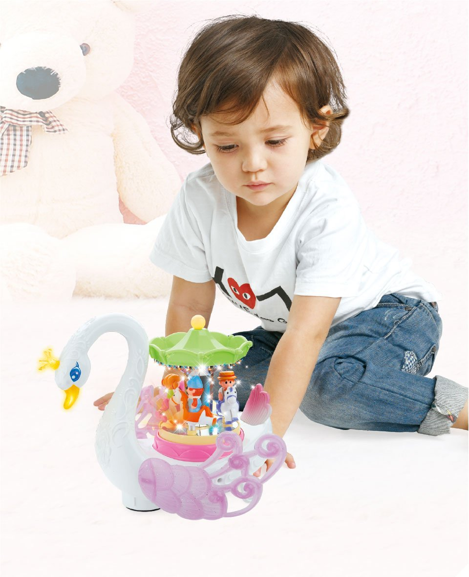 Lights Pp and Makes Music Bump and Go Toy PowerTRC Musical Swan Rotating Carousel