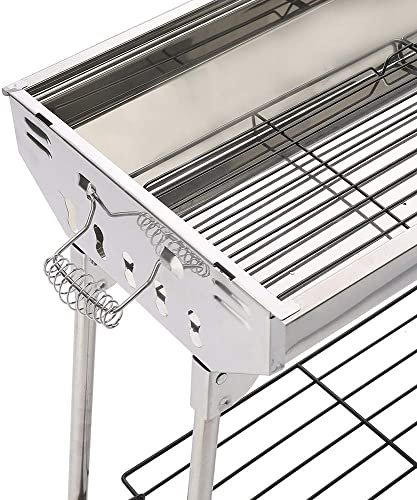 ISUMER Charcoal Grill Kabab Grills Portable BBQ – Stainless Steel Folding BBQ Camping Grill Large Hibachi Grill Shish Kabob Portable Camping Cooking for Travel Grill Outdoor