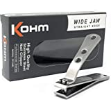 Kohm CP-240L Toenail Clipper for Thick Nails - 4mm Wide Jaw Opening, Straight Edge, Brushed Stainless Steel