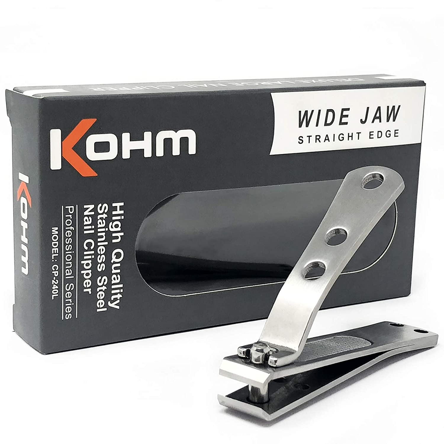Kohm CP-240L Toenail Clipper for Thick Nails - 4mm Wide Jaw Opening Straight Edge Brushed Stainless Steel