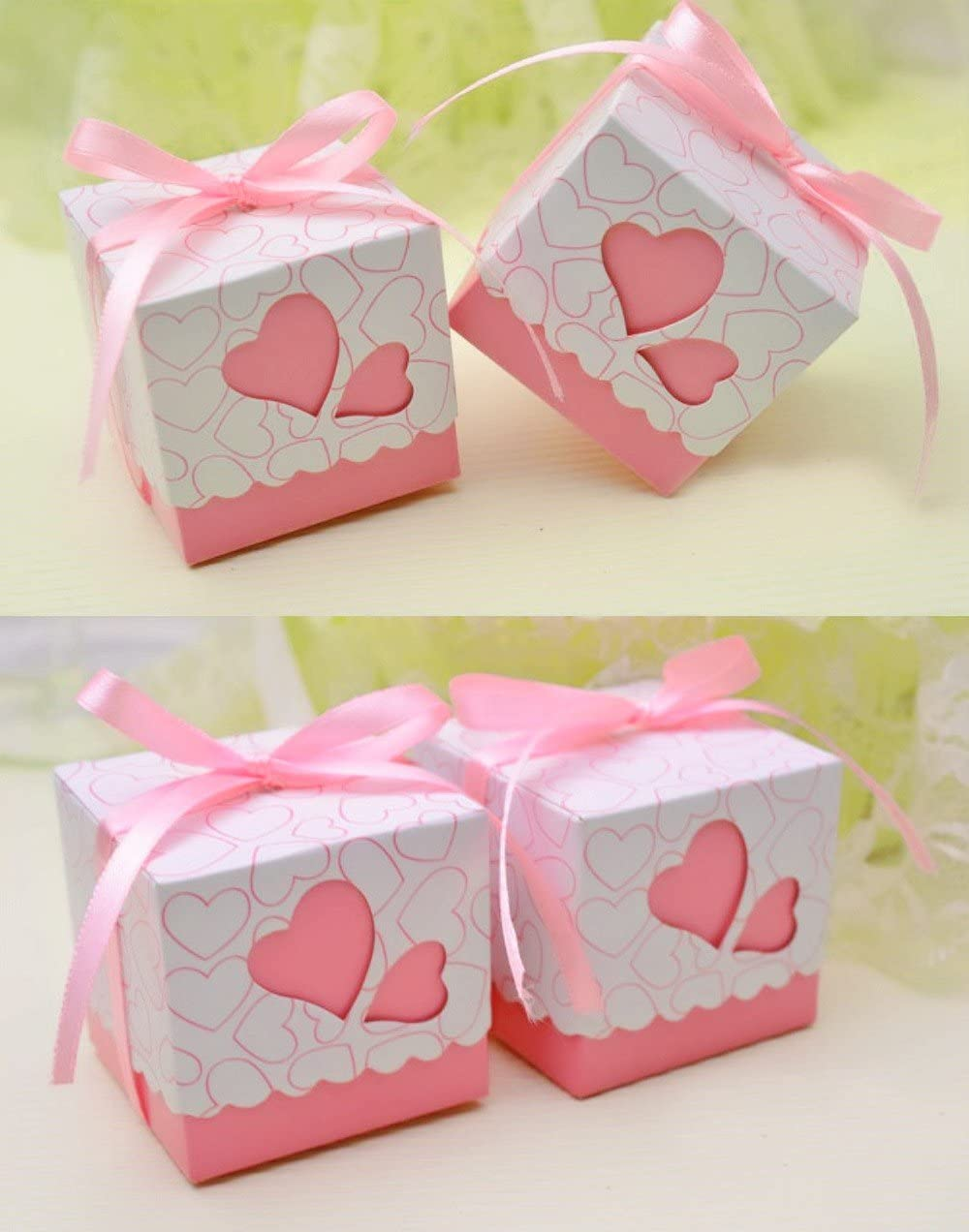 50 Peach Acrylic Heart Embellishments Craft Shower Christening Favours Cards