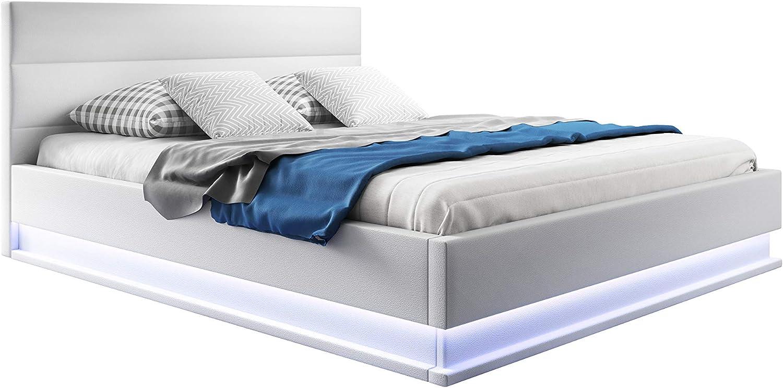 muebles bonitos Cama canapé abatible de Matrimonio Moderna Nitas con somier de láminas para colchón de 150x190cm Blanco diseño Italiano con LED Blanco ...